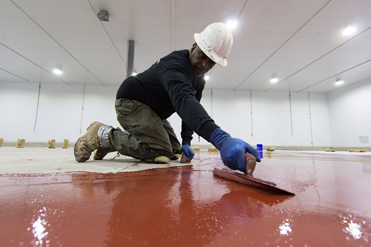 installing industrial epoxy floor coating